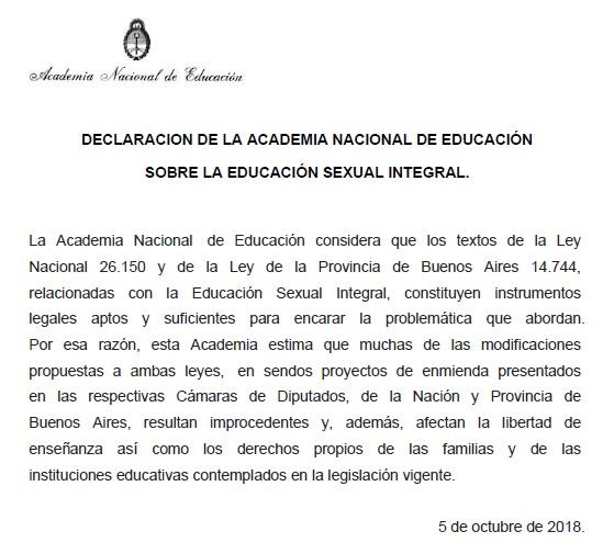 Declaración sobre Educ Sex Int ESI